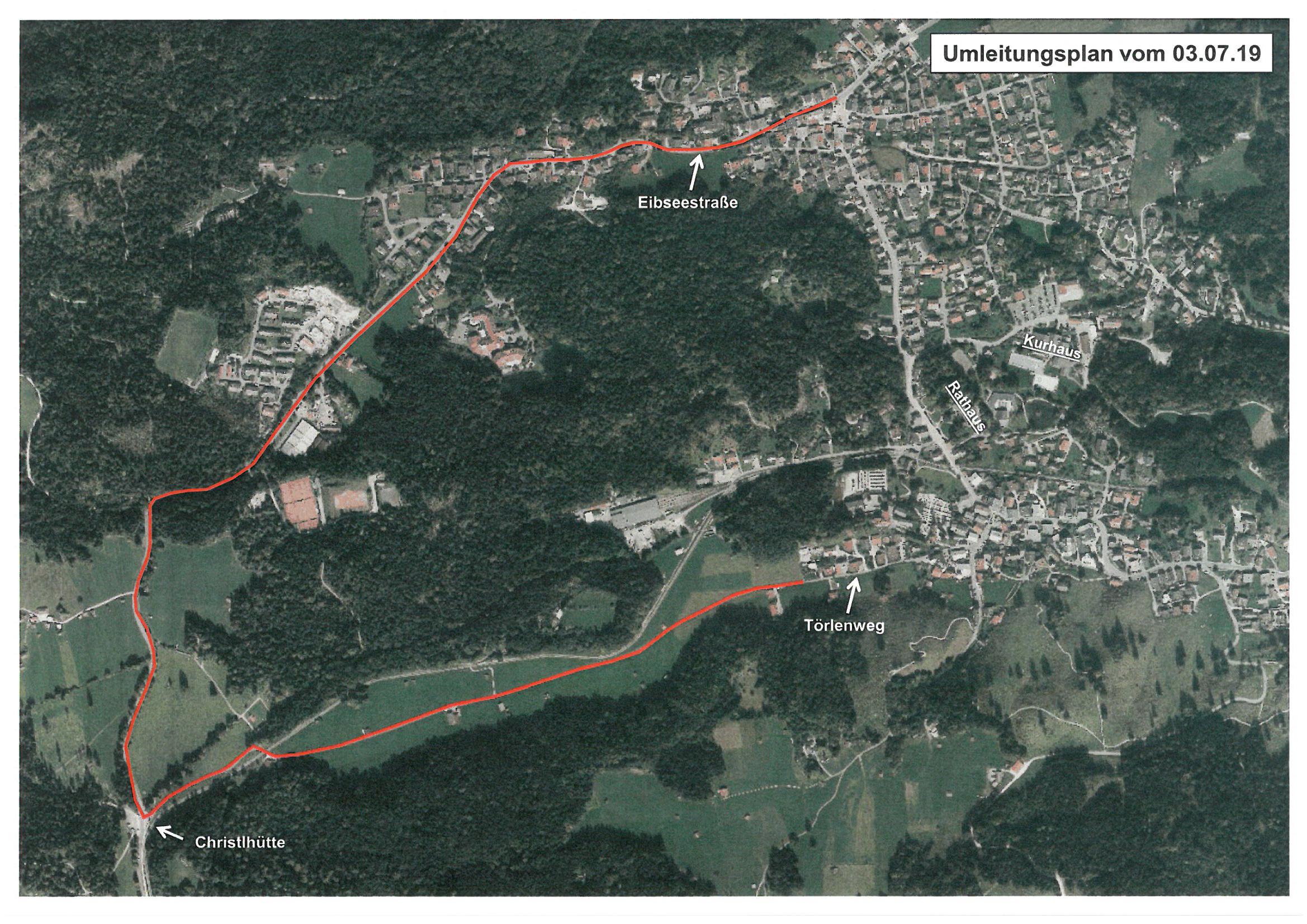 Umleitungsstrecke über die Eibseestraße zu den Anwesen am Törlenweg